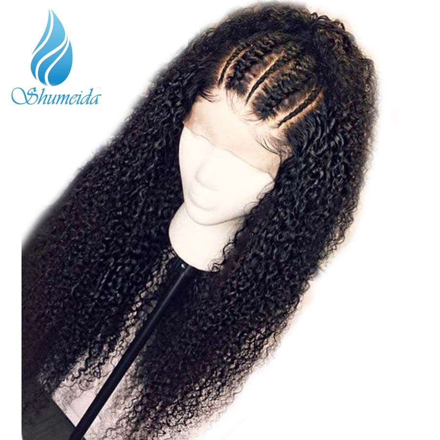 Human Hair Lace Wigs Steady Shumeida 180% 360 Lace Frontal Wig With Baby Hair Brazilian Remy Hair Natural Color Kinky Curly Wig With Pre Plucked Hairline Good Heat Preservation