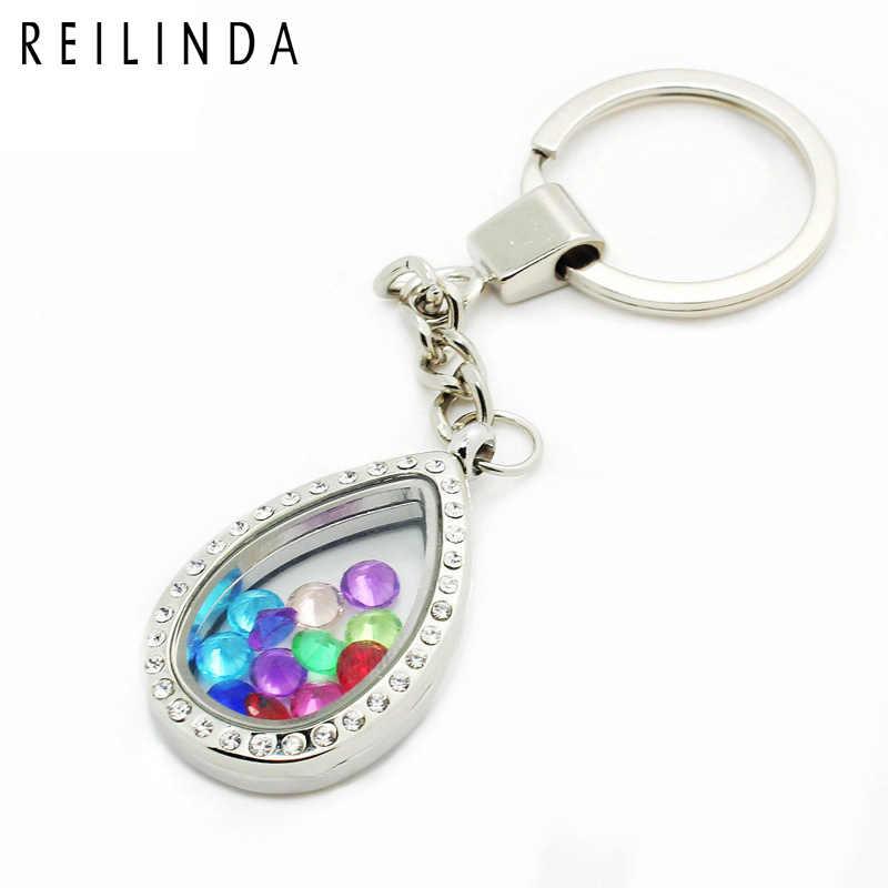 Waterdrop Herat szklane Living Lockets brelok pamięci pływające Lockets Key Ring Fit pływające amulety hurtownie