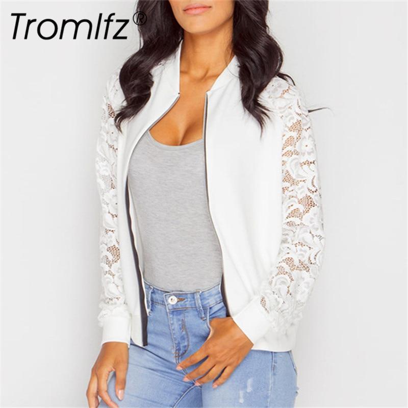 Tromlfz Autumn Casual Womens   Jackets   Ladies Lace Patchwork   Jacket   Zipper Long Sleeve   Basic     Jacket   female Coat Outwear