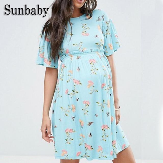 47f9940fee89c Sunbaby New Summer Fashion Floral Pattern Milk Silk Fiber Maternity Clothes  Beach Maternity Dress Casual Pregnancy
