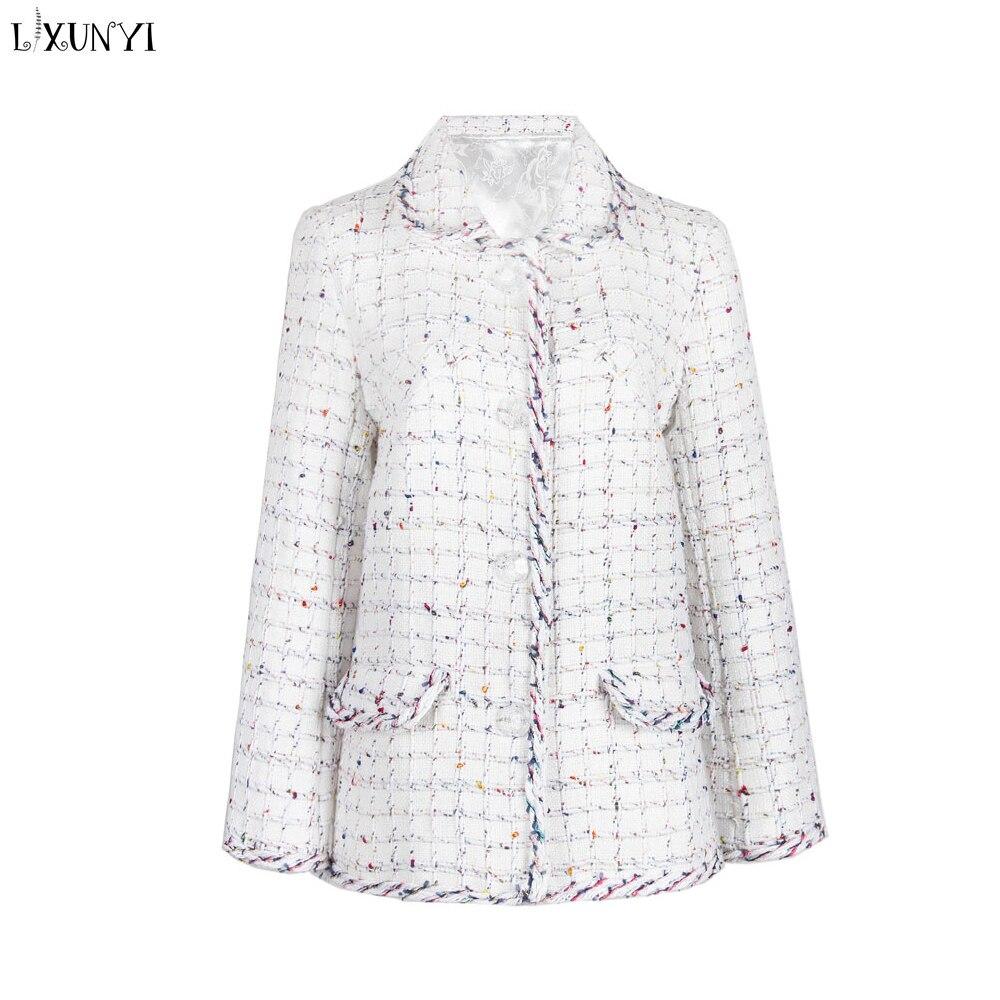 LXUNYI automne hiver blanc Tweed Blazer femmes élégant simple boutonnage Blazer manteaux à manches longues mode Outwear dame