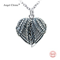 925 Sterling Silver Jewelry Vintage Angel Wing Necklace Feather Locket Penant Necklace Lovers Gifts For Women