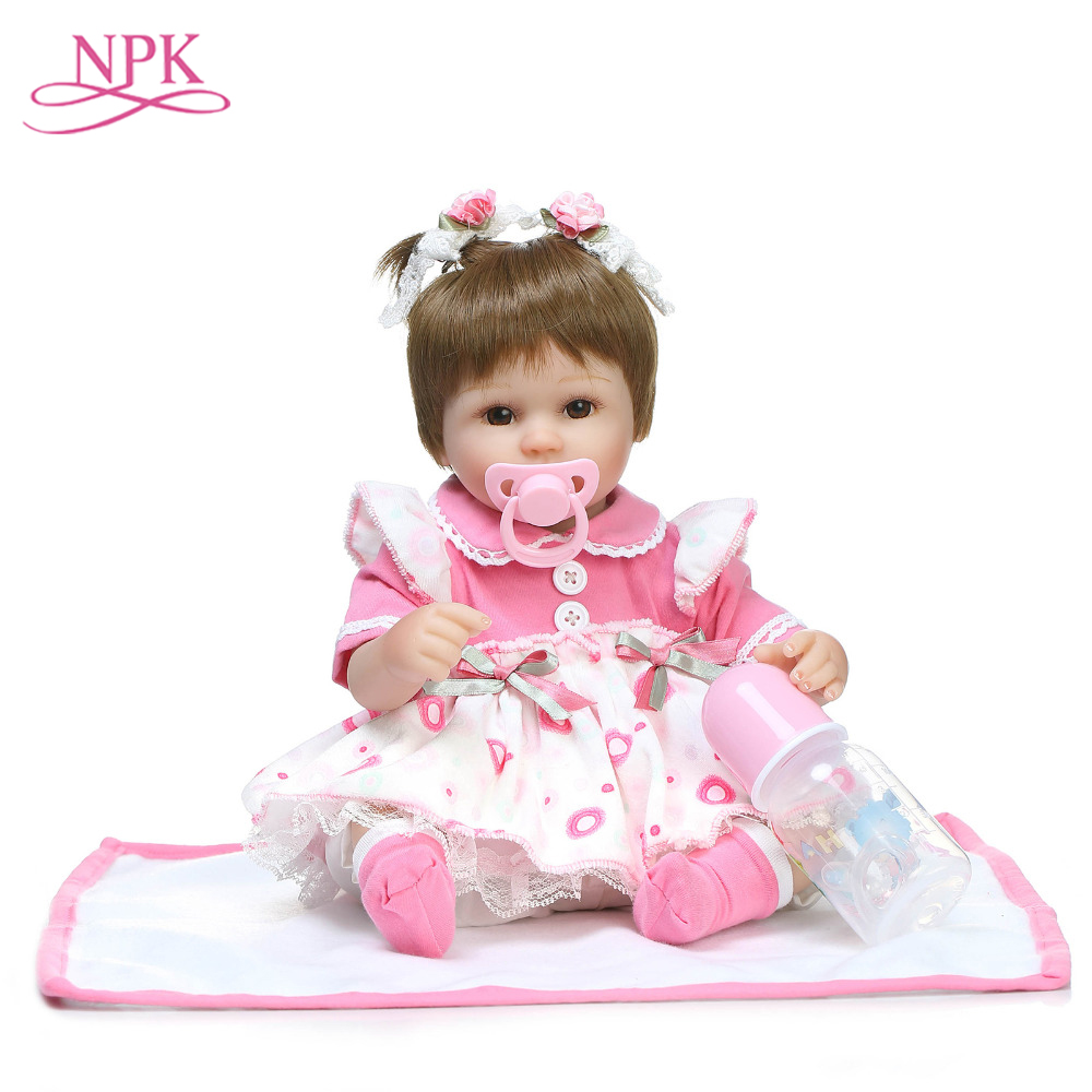 NPK Silicone Reborn Dolls Baby kids Gift For Playmate Girls 42CM  16.5Inch boneca Baby Alive Soft Toys For Doll Bebe Reborn