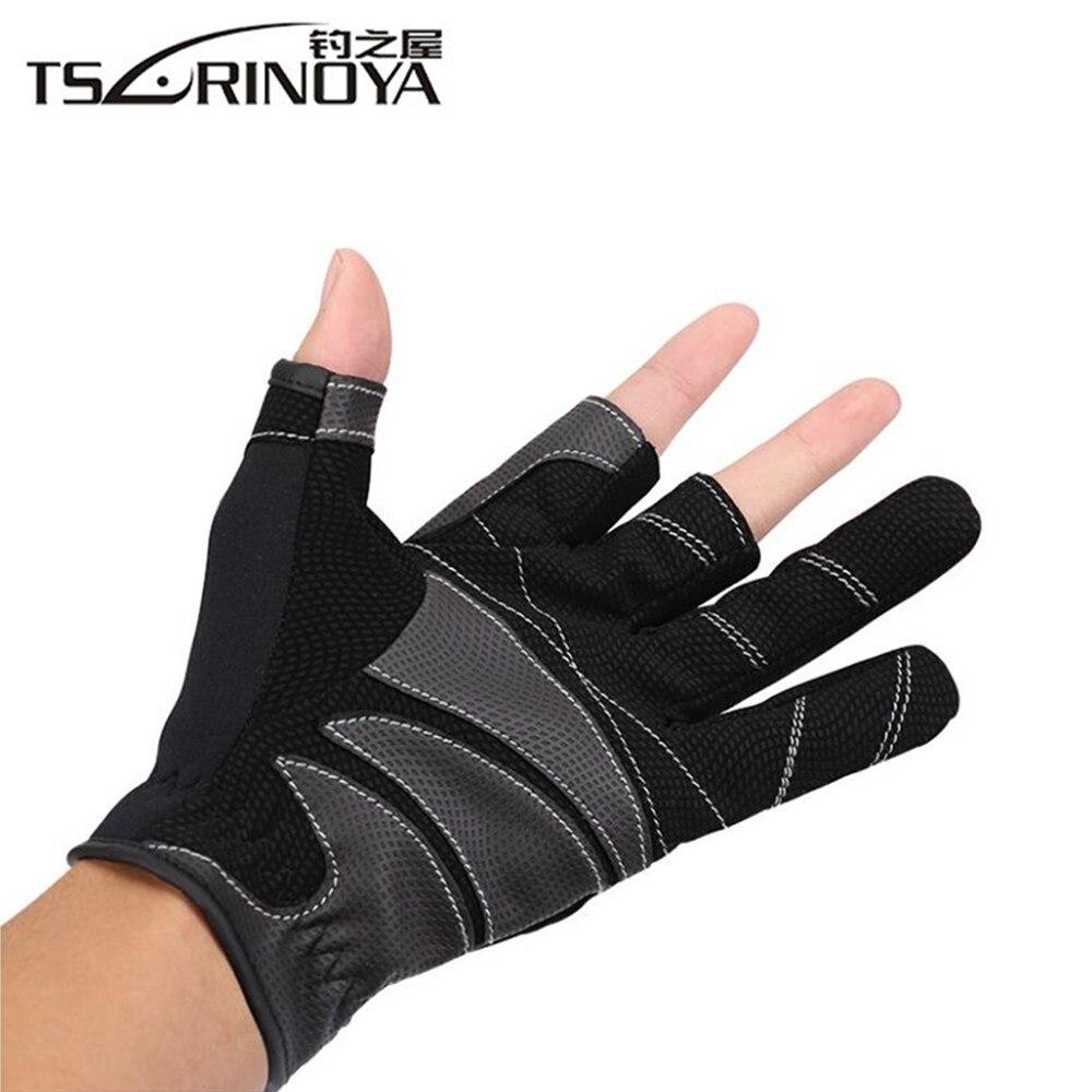TSURINOYA 3 Half-Finger Breathable Anti-Slip Fishing Lure Gloves Sports Glove Protector Finger Spring Outdoor Fishing Equipment