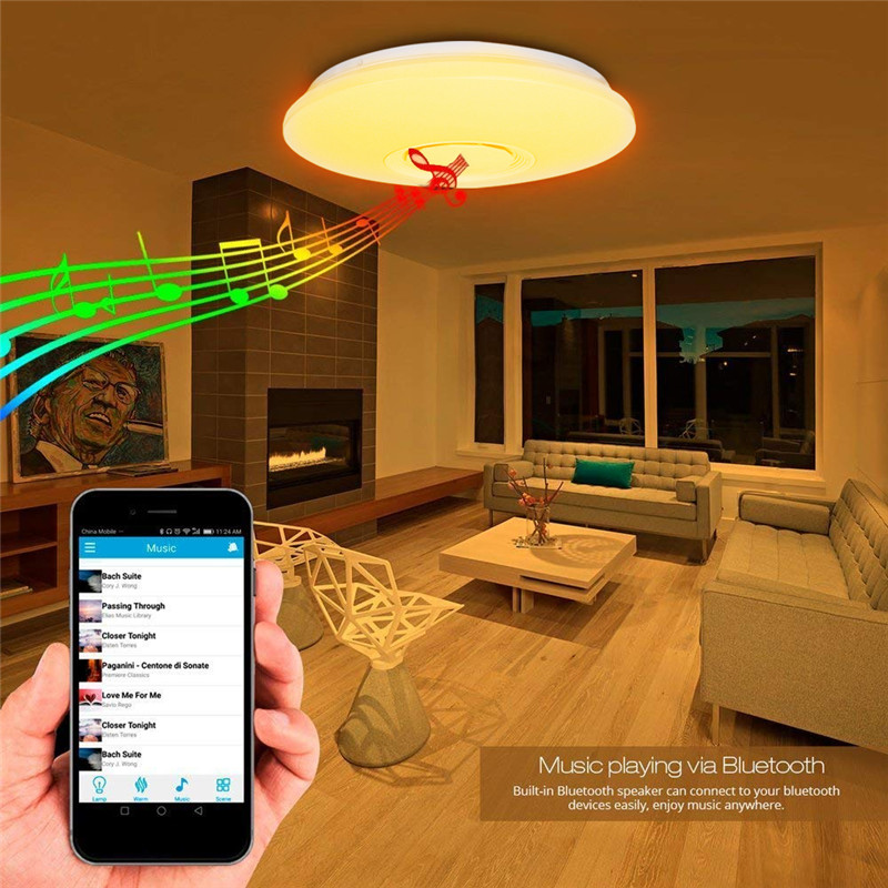 48W Bluetooth Speaker Music Dimmable Lamp Ceiling Down Light Multi Color Changing Dimmable Lamp for Bedroom