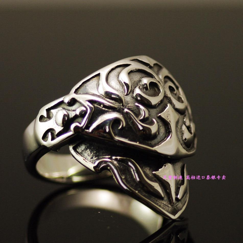 Ювелирные украшения две секции ретро стиль мобильный Броня 925 пробы серебряные кольца тайское серебряное кольцо