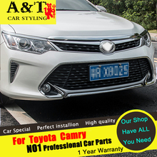 A&T For Toyota Camry Bumper strip chrome trim car styling 2015 2016 For Camry Front bumper trim stickers car speacial ABS Car Ac