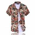 2014 новый летний мужская цветы печатные футболки, большой размер свободные Цветочный печати дизайнер с коротким рукавом рубашки мужчины, XL-7XL, 3020