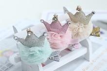 15pcs Fashion Cute Glitter Gemstone Crown Girls Hairpins Solid Kawaii Gauze Pom Pom Ball Tiaras Hair Clips Headware Accessories