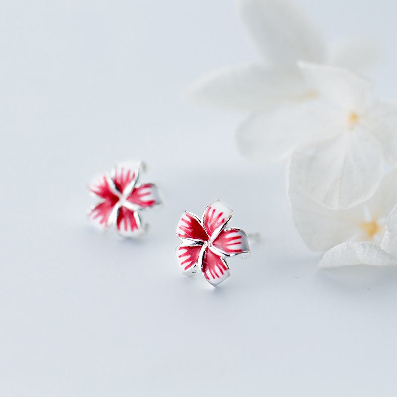 MloveAcc 925 Sterling Silver Modern Enamel Flower Stud Earrings for Women Fashion Silver Ear Jewelry Girl Gifts