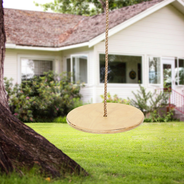 Wooden Round Disc Rope Swing Tree Swing Safety Plate Seat For Kids
