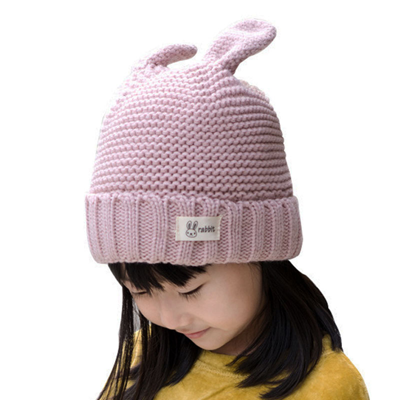 Boys Girls Hat Winter Kids Child Hats A Caps Beanies Rabbit Ears Knitted Cable Cuffed Icon Cap Skullcap Skullies Bonnet M7129