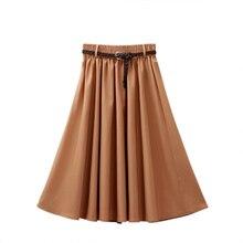 c2c8ee004c25 Elegant Women A-line Skirt High Waist Pleated Knee Length Skirt Vintage Solid  Color Skirts