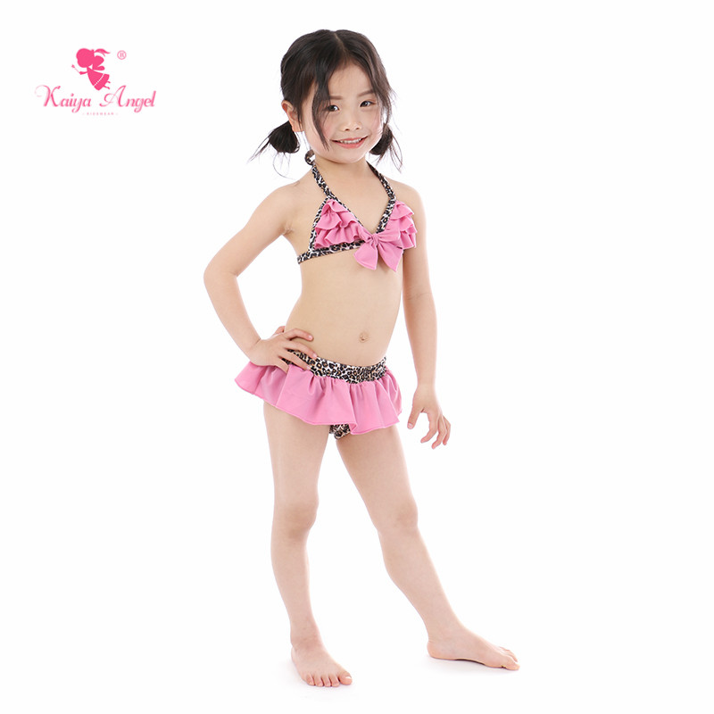 Kaiya Angel New Baby Girl Swimwear Summer Toddlers Patchwork Pink Bow Leopard Print Cute Ruched Two Pieces Kid Factory Wholesale
