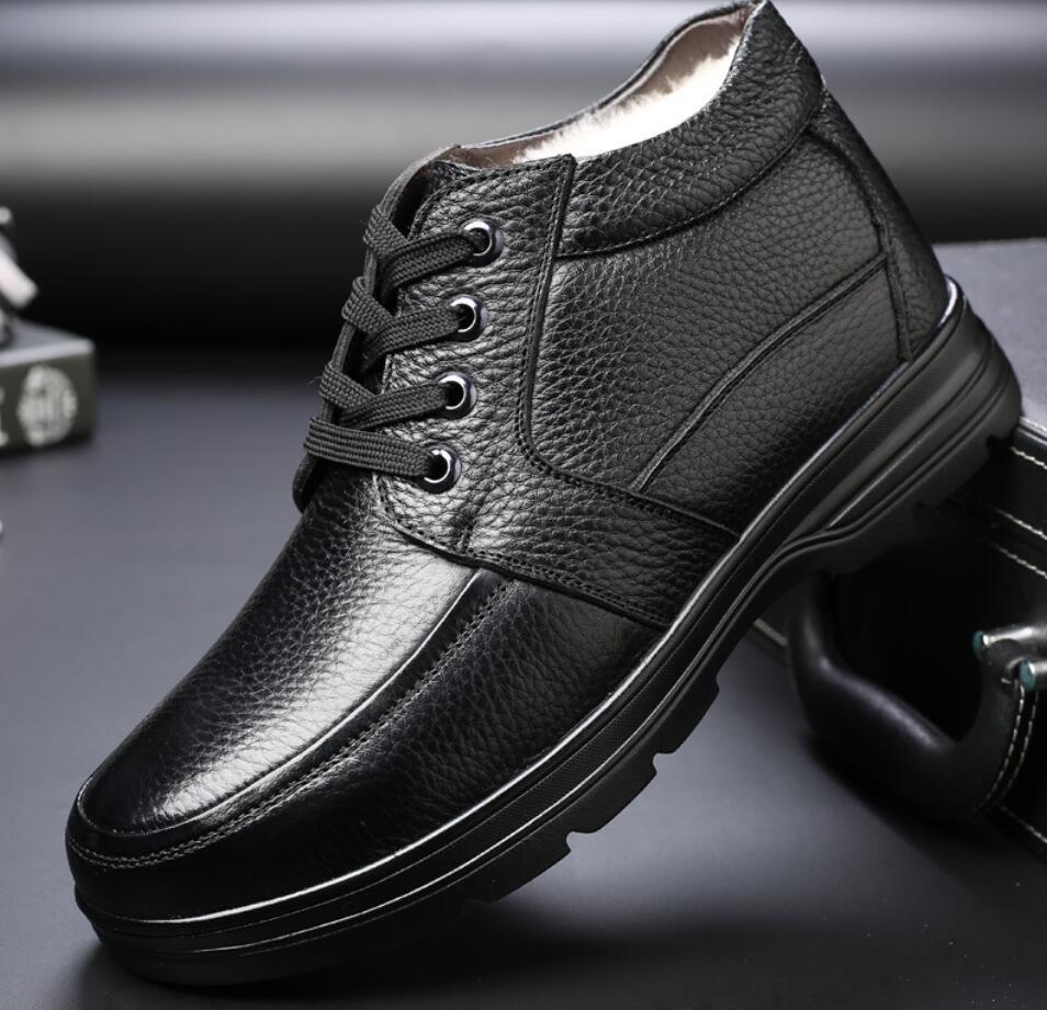 2018 Echtem Leder Männer Winter Schuhe Schnee Stiefel Lange Wolle Anti-skid Spitze Kurze Stiefel Warme Baumwolle Schuhe Hombre Herren Chaussure