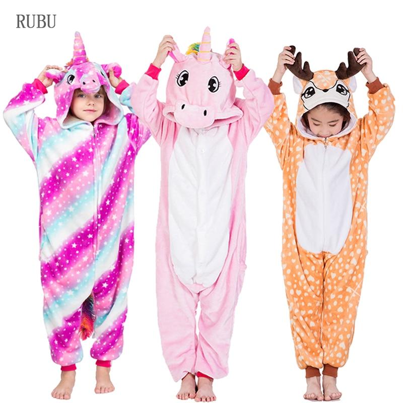 Kigurumi Onesie Kinder Einhorn Pyjamas Baby Tier Cartoon Panda Deer Jungen Mädchen Winter Cosplay Nachtwäsche Kinder Pyjama