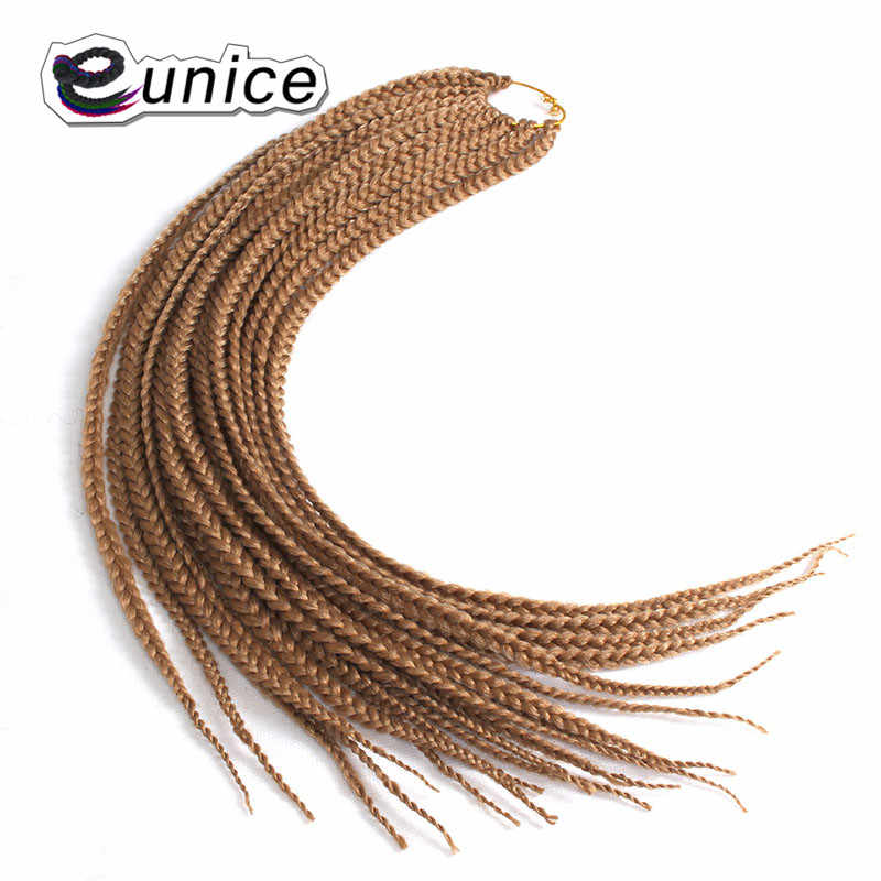 18 24inch Crochet Box Braid Hair Pre Braided Hair Extensions Colored 1B/Blue/Bug Ombre Synthetic Braiding Hair Eunice Products