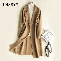 LHZSYY Осень Новый Для женщин кашемир двусторонний шерстяное пальто зимние свободные модные однотонные длинные толстые шерстяные ткани женск