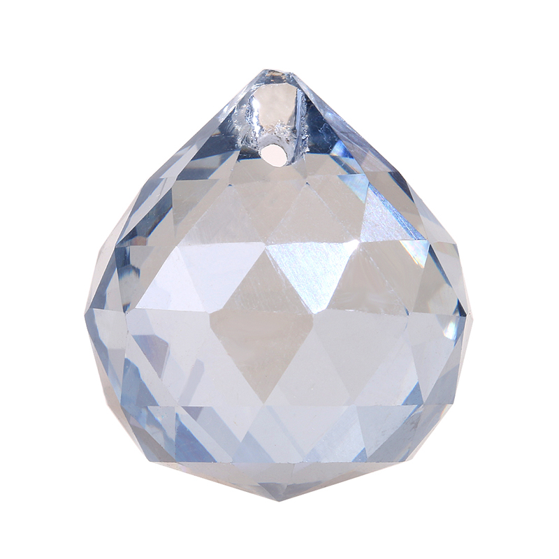 Blue Gray 20mm Glass Faceted Ball Hanging Pedants For Chandeliers 30pcs/bag Crystal Drop Prisms Wedding/Home Lighting Decor