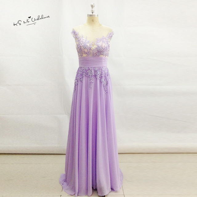 Robe de Soiree 2017 Lavender Vintage Formal Long Evening Gowns Lace ...