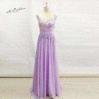 Robe de Soiree 2017 Lavender Vintage Formal Long Evening Gowns Lace Women Pageant Cheap Prom Dress for Graduation Party Gowns