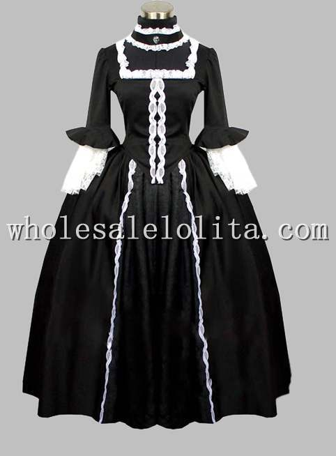 Gothic Black and White Cotton England Victorian Era Dress