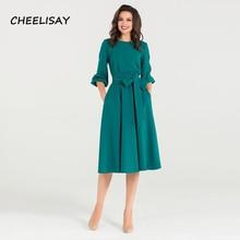 New Spring Summer Dress O-Neck three quarter sleeve elegant party vestidos Women vintage dress soild color no pocket