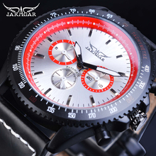 Jaragar Mechanical Mens Automatic Watch Red Racing Sport Date Watches Genuine Leather Band Wristwatches Male Relogio Homme Saati