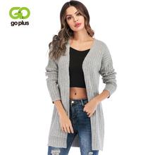 GOPLUS 2019 Spring Soft Cotton Knitted Cardigans Women Solid Long Sleeve Sweater Girl Casual Streetwear Pull Befree Coat Female