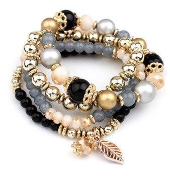 Fashion Multilayer Crystal Beaded Bracelets Bracelets Jewelry Women Jewelry Metal Color: black