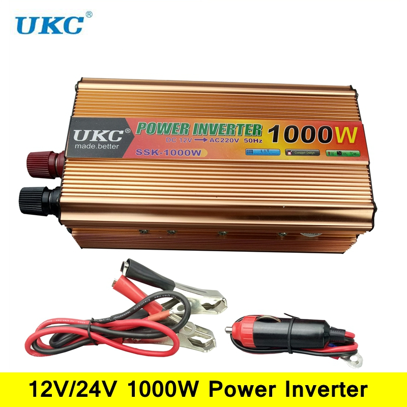 UKC Peak Power 1000W 50HZ Inverter DC 12V/24V to AC 220V Modified Sine Wave Power Inverter Converter DC to AC Car/Home inverter