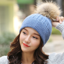 Brand 2016 Women Spring Winter Hats Beanies Knitted Cap Crochet Hat Rabbit Fur Pompons Ear Protect Casual Cap