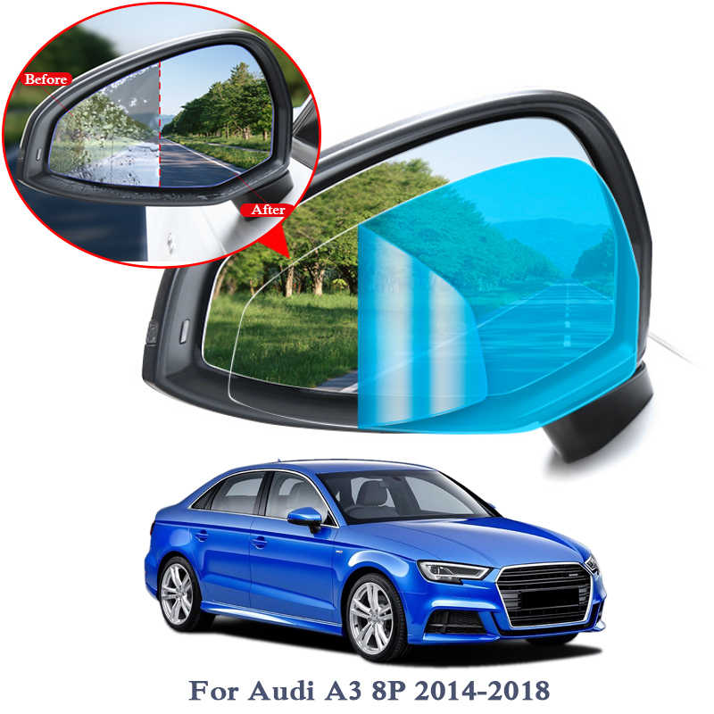 Suitable for Audi A3 2014-2018 Rear View Mirror Rain Film Car PET Rearview Mirror Protective Window Clear Anti fog Waterproof Rain Shield Film
