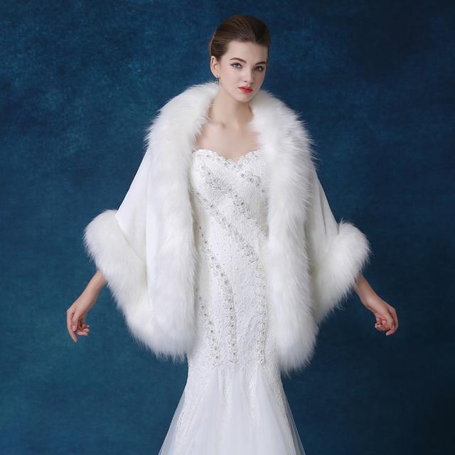 2017 Top Quality Winter Plus Size Faux Fur Bridal Cape White Wedding Bolero Wrap Evening