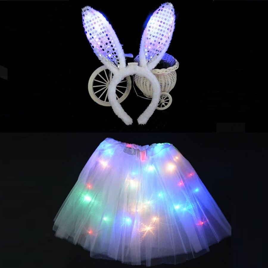 Women Girl Children LED Light Up Wire Tutu Glow Bunny Rabbit Cosplay Costume Ear Headbands Birthday Glow Party Skirt Purim