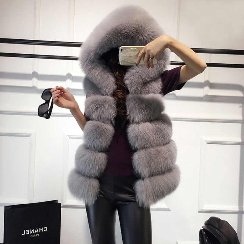 f9cc7cf045 AOTEMAN Faux Fur Coat Women Winter Fashion Elegant Warm Slim Solid Faux Fur  Vest Ladies Vintage