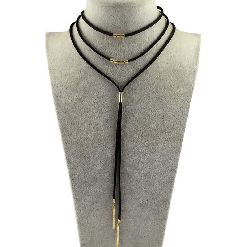 DANZE Boho Multilayer Imitation Läder Choker Halsband För Kvinnor - Märkessmycken - Foto 2