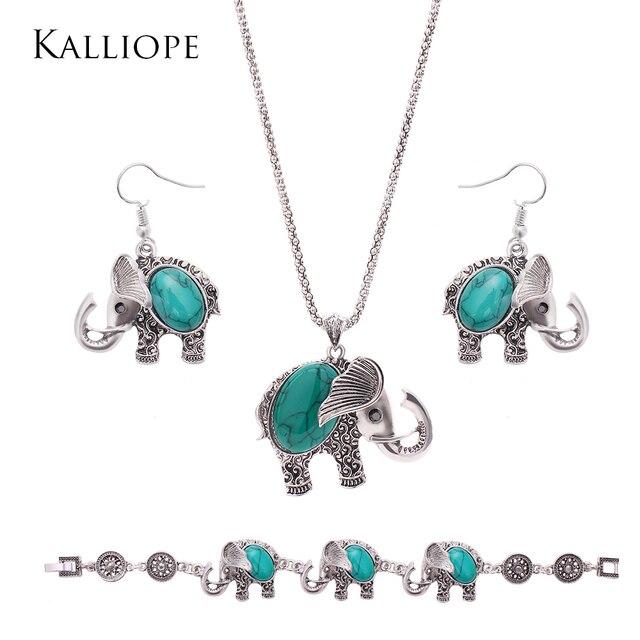 d290978a6b4f Nueva nueva llegada exquisito elefante piedras semipreciosas joyería  conjunto moda mujeres accories fina bijoux de calidad