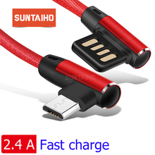 Suntaiho 90 Degree Charge Micro USB Cable 2.4A for Samsung Cable USB for Xiaomi Tablet Cables nokia 8  Double-sided Plug cable