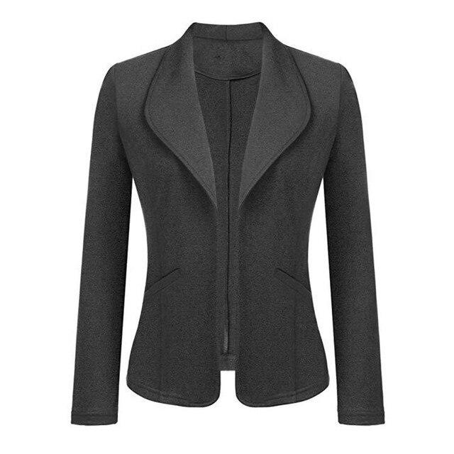 Feitong Women Blazer Jacket Fashion 2018 Women Long Sleeve Solid Cardigan None Button Elegant Work Office Slim Coat Lady Suit/PT 2
