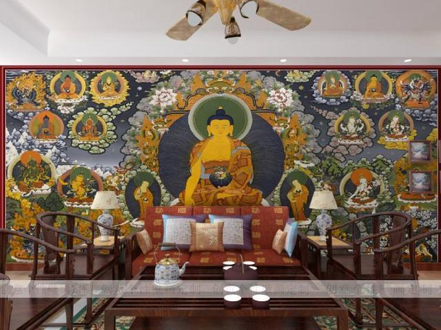 Custom 3d Mural Wallpaper Thangka Buddha Murals Large Buddhist Culture Background Temple Hotel
