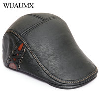 Wuaumx Luxury Brand 100% Genuine Cow Leather Berets For Men Duckbill Hat Fall Winter Men's Berets Dad Hats Cowskin Newsboy Caps