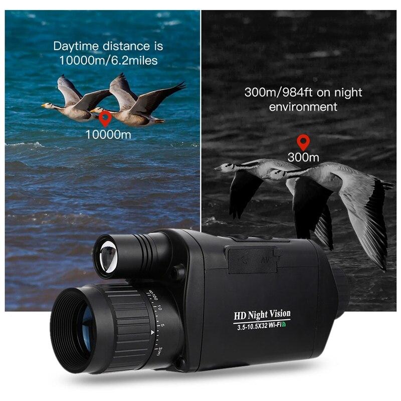 Askco WiFi Numérique IR Infrarouge de Vision Nocturne Monoculaire Télescope Dispositif En Plein Air Caméra Vidéo pour La Chasse Observation Des Oiseaux Portée