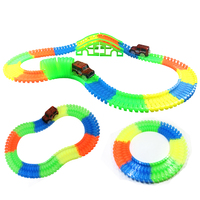 DIY Glowing Race Car Twister Track LED Flashing Light Tracking Rail Flexible Changeable Railway In The