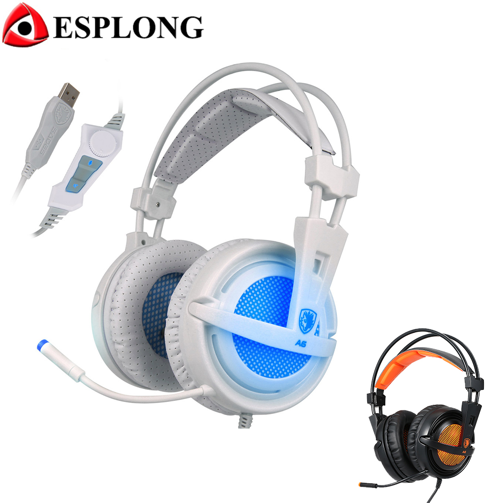 SADES A6 7.1 Surround Sound Stereo LED Gaming Headset Headband Volume Control Bass USB Headphones with Microphone for PC Gamer sades sa708 gaming headphones w microphone white grey red 3 5mm plug 220cm cable