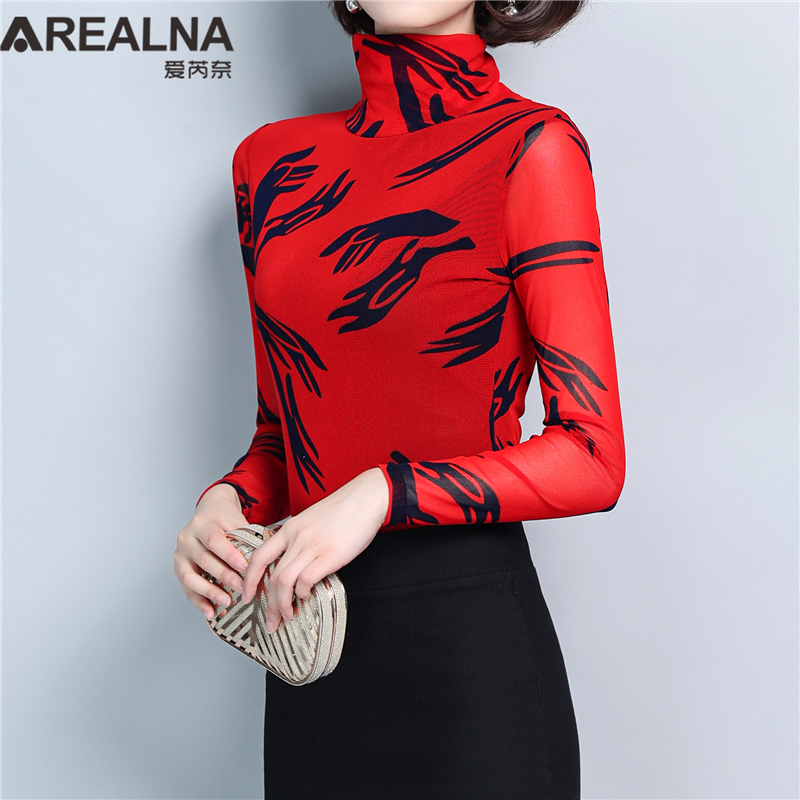 Vertrouwend Herfst Lente Fashion Dames Blouses Plus Size Hoge Elasticiteit Zwarte Slanke Gedrukt Grappige Handen Grafische Coltrui Dames Shirt Tops