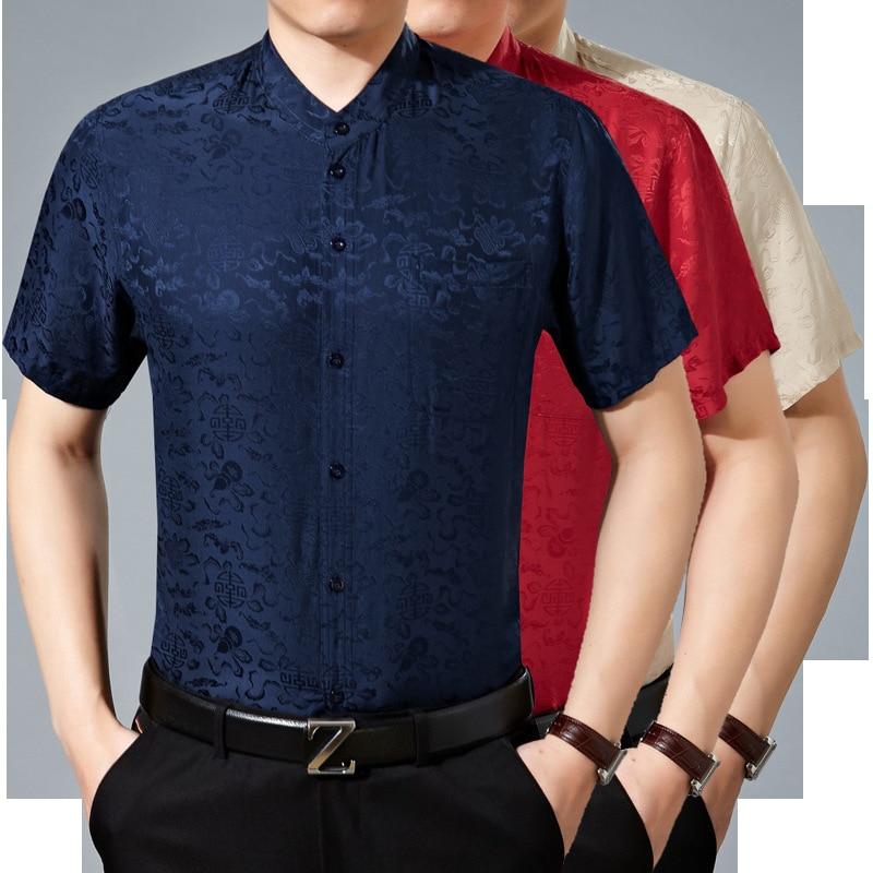 100% natural Silk Short Sleeved Shirt, Men's Leisure Collar, Silk, Satin And Half Sleeved Men's Shirt.