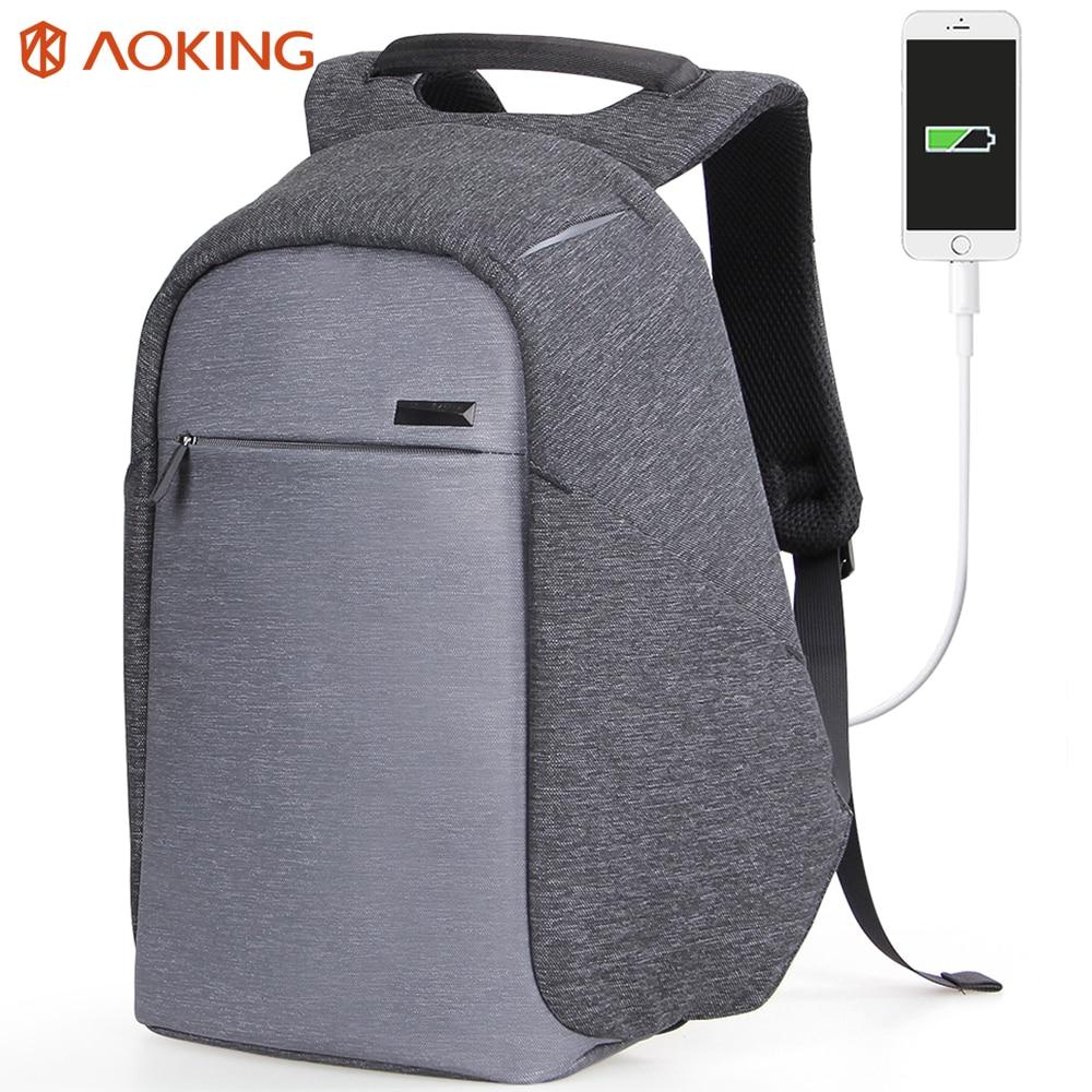 Aoking Мода 2017 г. функциональный рюкзак USB зарядка Бизнес Рюкзак Mochila Путешествия Рюкзак Anti-Theft Колледж Чемодан рюкзак