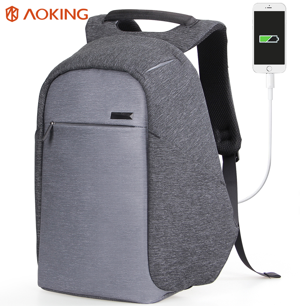 c89f88d8ea Aoking 2017 Fashion Functional Backpack USB Charge Business Backpack  Mochila Travel Backpack Anti-theft College Luggage Backpack