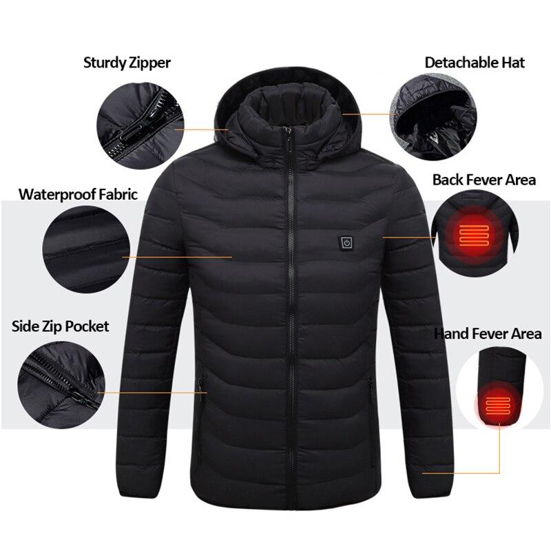 Подогрев куртки Для мужчин USB Отопление Для мужчин куртка зимняя однотонная парка Для мужчин с длинным рукавом с капюшоном Термальность зим...
